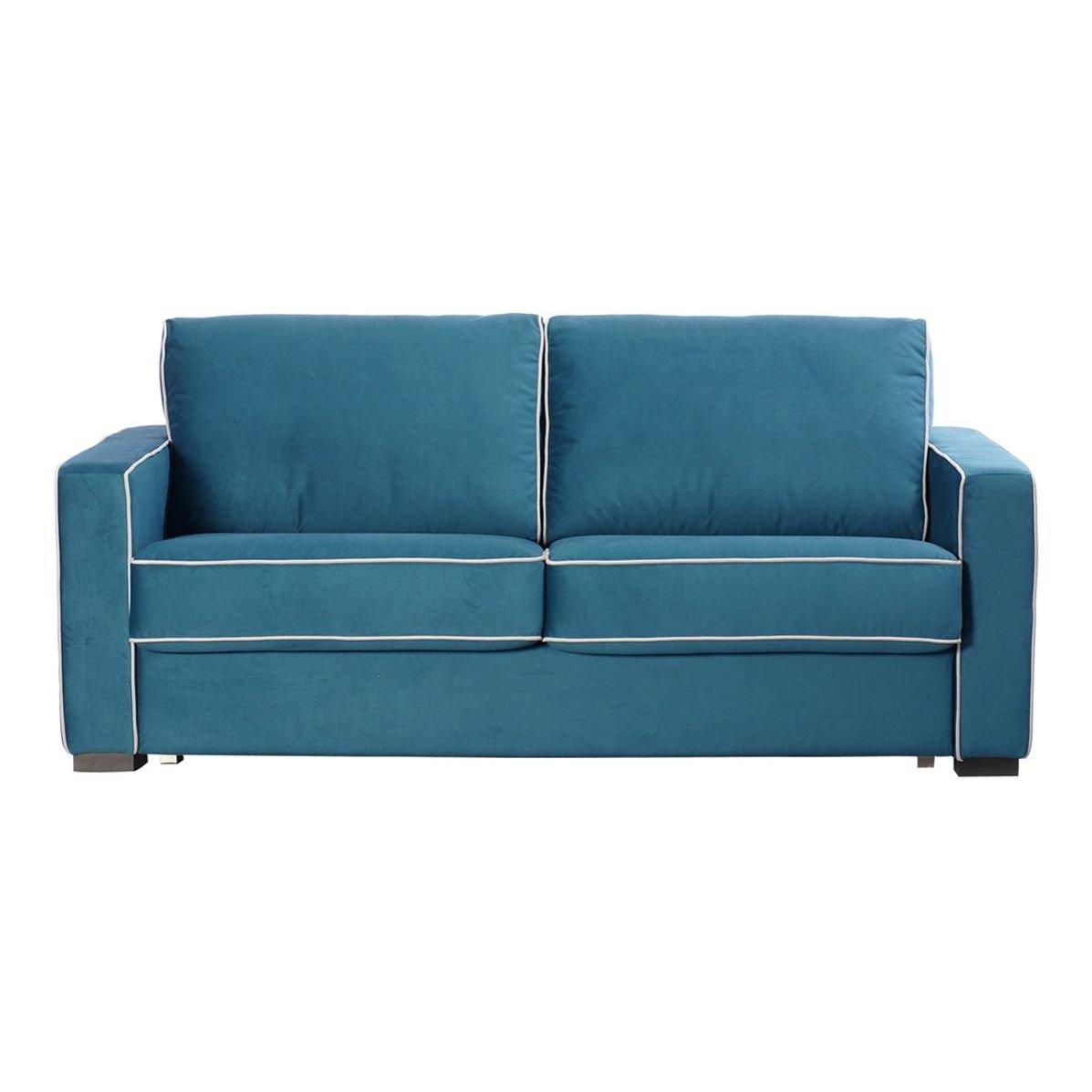 Sofá tapizado en tela con ribeteado